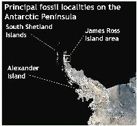 Principal fossil localities on the Antarctic Peninsula