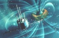 Satellites can be damaged by charged particles trapped in the Earth's magnetic field.