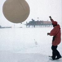 The launch of a radiosonde weather balloon at Halley Research Station.