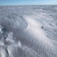 Sastrugi - windblown snow waves formed by the prevailing wind - in the inland ice sheet, Antarctica